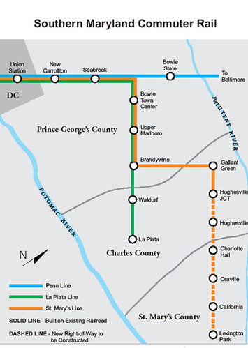 Maryland MTA proposal for rail passenger service to Charles and St. Mary's Counties