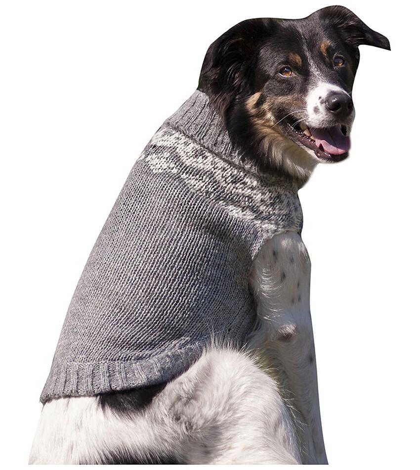 Grey Fair Isle Knit Dog Sweater