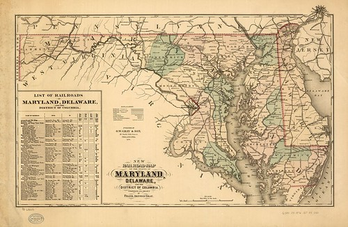 New railroad map of the state of Maryland, Delaware, and the District of Columbia. Compiled and drawn by Frank Arnold Gray, 1876