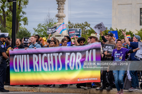 Protest outside SCOTUS hearings on LGBTQ cases