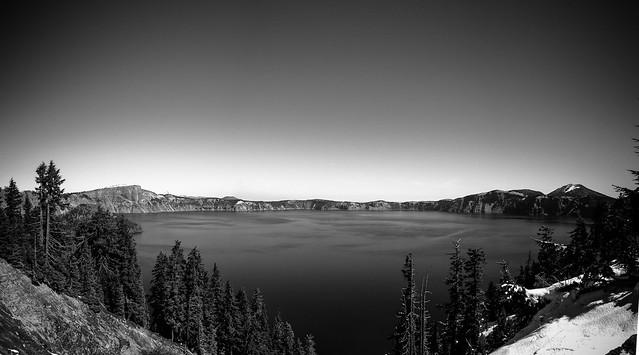 Crater Lake Black and White Pano