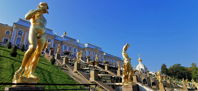 The Samson Fountain in the Palace Garden of Peterhof Palace
