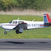 D-ENTD - 1987 build Mooney M.20J Model 205, arriving on Runway 24 at Friedrichshafen during Aero 2018