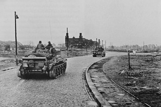Cromwell tanks of the 7th Armored Division nearing a bridge over the Elbe in Hamburg 3rd May 1945.