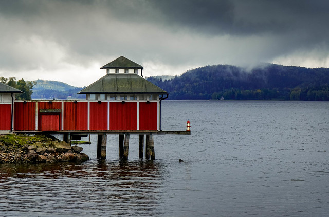 Red boathouse in Ulricehamn