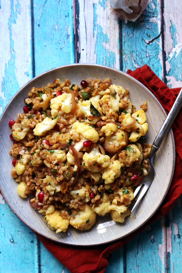 Roasted Cauliflower and Farro Salad with Pistachios and Pomegranate