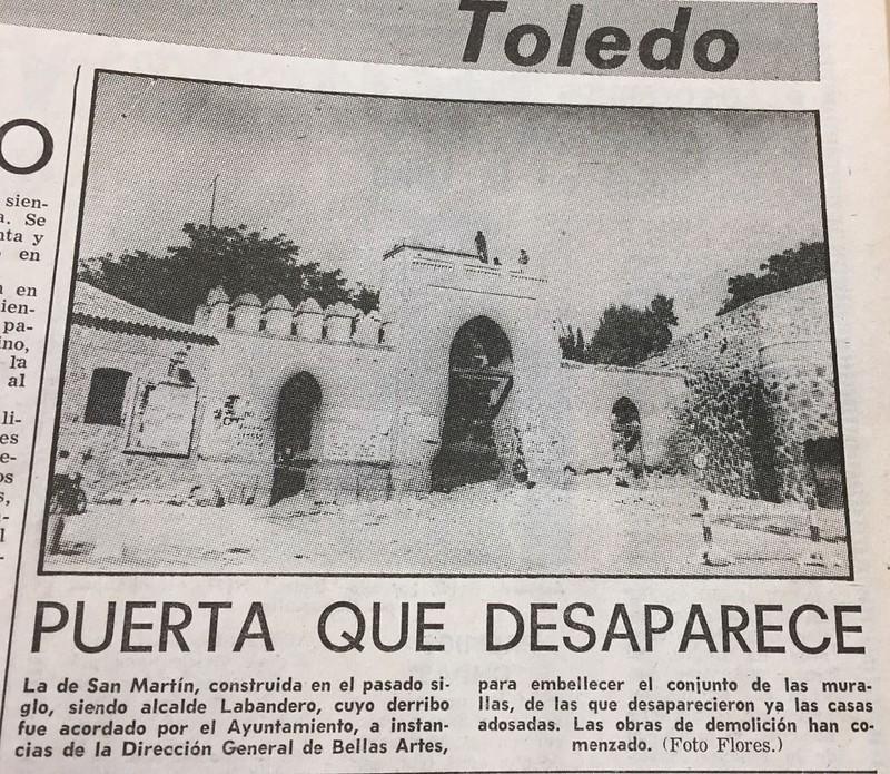 Demolición de la Puerta de San Martín en 1967. Foto Flores para El Alcázar
