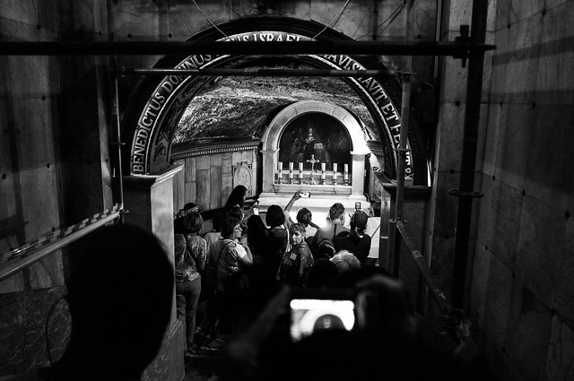 People around the tomb of St. John the Baptist