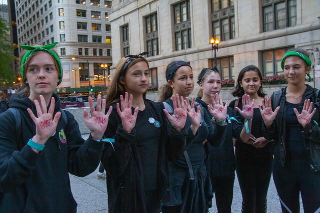Members of Illinois Youth Climate Strike from Deerfield High School Extinction Rebellion Action Chicago Illinois 10-7-19_3474