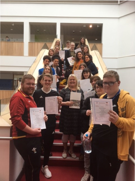 Merthyr Tydfil Erasmus+ participants with certificates