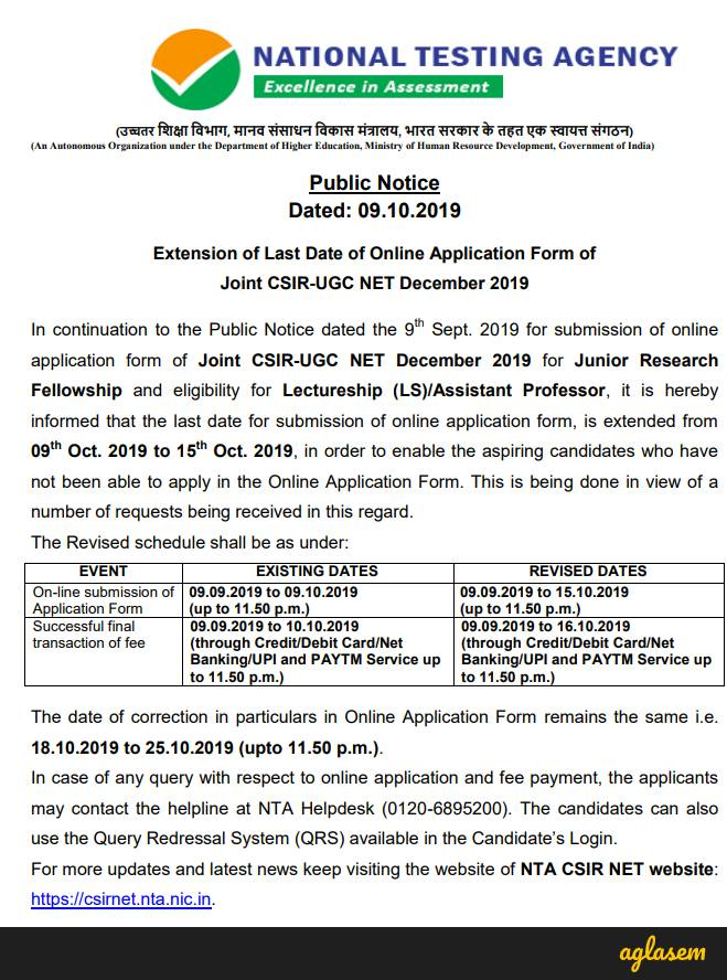 NTA Extends UGC NET, CSIR NET 2019 Last Date of Online Application Form to October 15