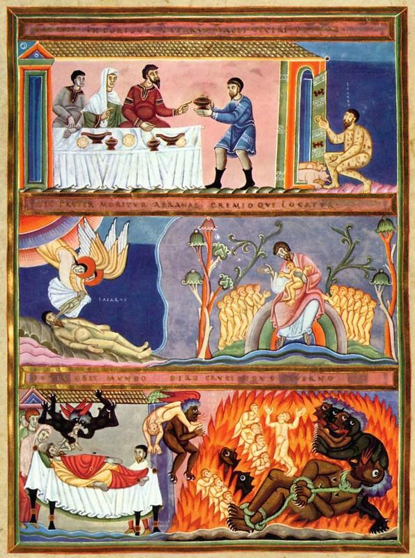 72 Притча о богаче и Лазаре из Золотого кодекса Эхтернаха 1028-1051