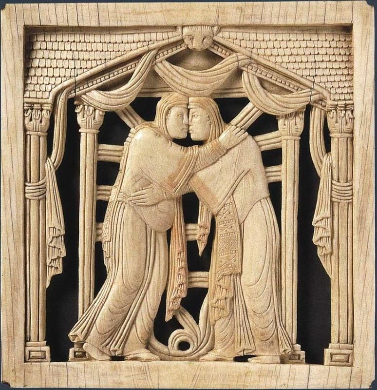 62 Встреча Марии и Елизаветы. 962 - 968г. Магдебургские пластины. Италия. Милан
