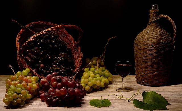 Still life in the grape harvest season