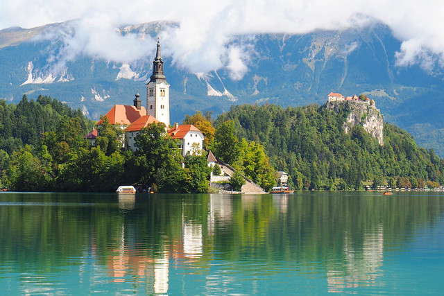 Lake Bled looking east, Slovenia