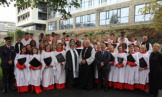Preacher Canon Lorraine Kennedy–Ritchie, Archbishop Michael Jackson, Mr Justice John Jordan, Garda Commissioner Drew Harris, Archdeacon David Pierpoint and the Revd Ross Styles with the Choir of the King's Hospital School and its director Helen Roycroft.
