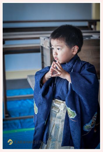 2019年七五三 3歳の男の子 青の羽織