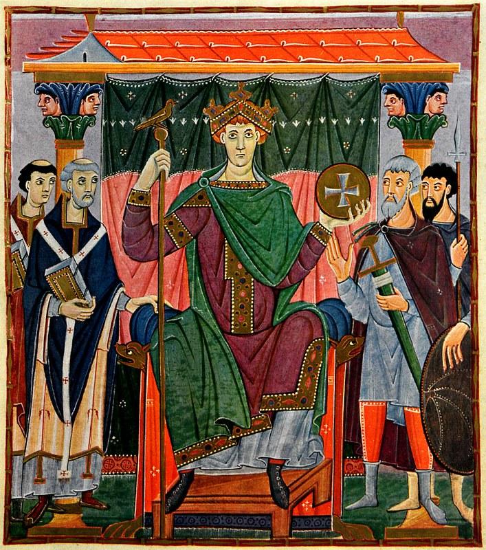 61 Оттон III на троне. Мастер школы Райхенау ок 1000 г