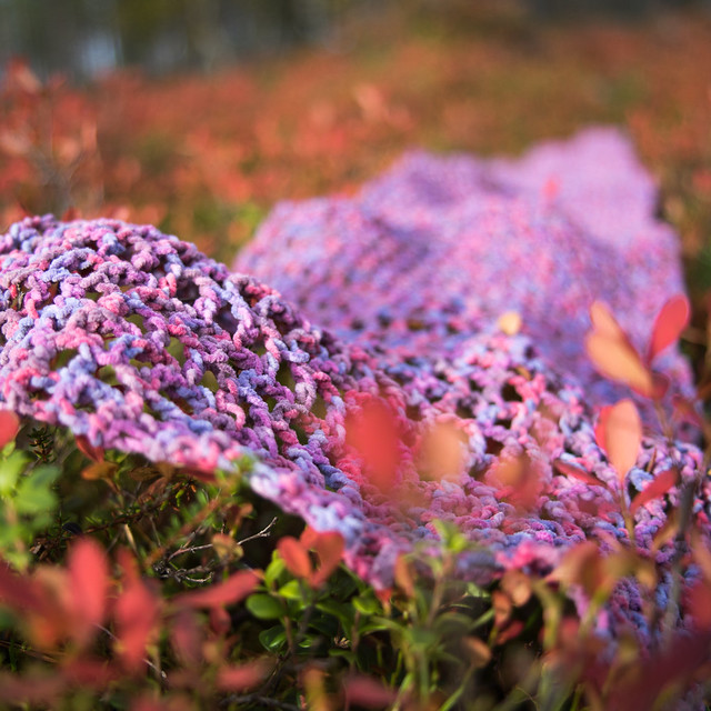 Crochet scarf with autumn colours