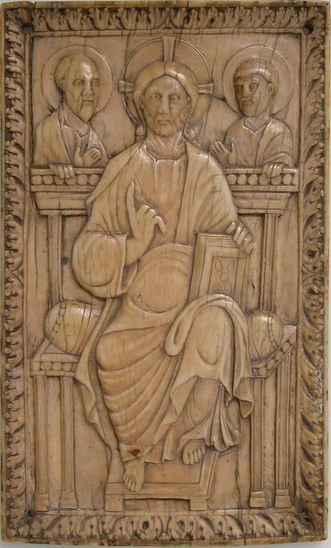 34 Христос на престоле. Апостолы Петр и Павел. Эпоха Каролингов. 850-875г; Франция. IX в.