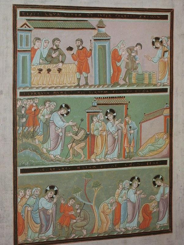 73 Чудеса Иисуса Христа из Золотого кодекса Эхтернаха 1028-1051