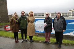 Permanent Secretary Leslie Evans visits the Victoriart mural on the wall of Marine Scotland in Torry