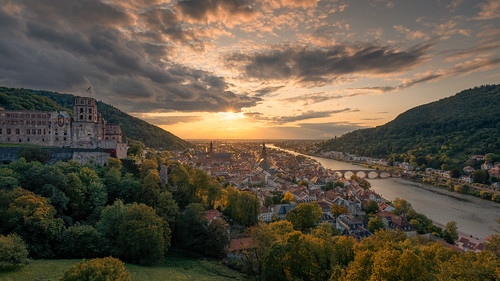 2019 germany heidelberg city church sunset outdoors panorama castle river bridge orange sky clouds sony a7rm2 zeiss sonyfe1635mmf4