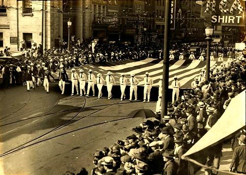 Parading The American Flag Through The Streets Of Baltimore, Circa 1930s