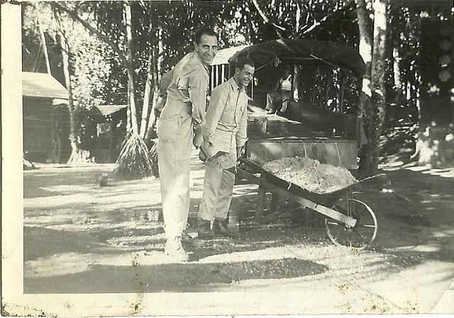 scan0005 Dominick Cottone handling the wheel barrow & unknown Artilleryman Hawaii Dec 1941