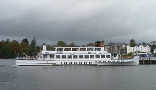 "Windermere Lake Cruises' mv ""Teal"" arriving at Bowness."