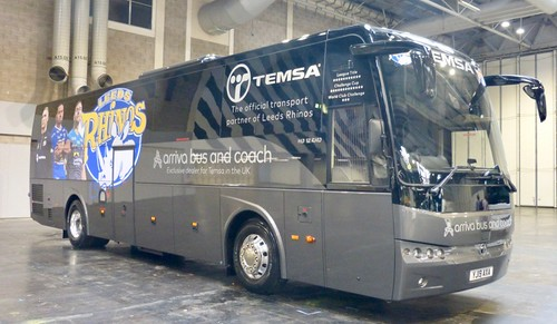 YJ19 AXA 'Fourway of Leeds' Leeds Rhinos'. TEMSA HD12 RHD /3 on Dennis Basford's railsroadsrunways.blogspot.co.uk'