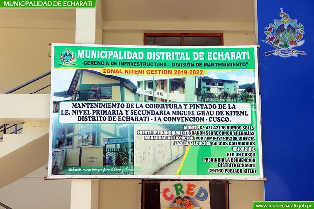 MDE entrego trabajos de mantenimiento de Institución Educativa Miguel Grau de Kiteni