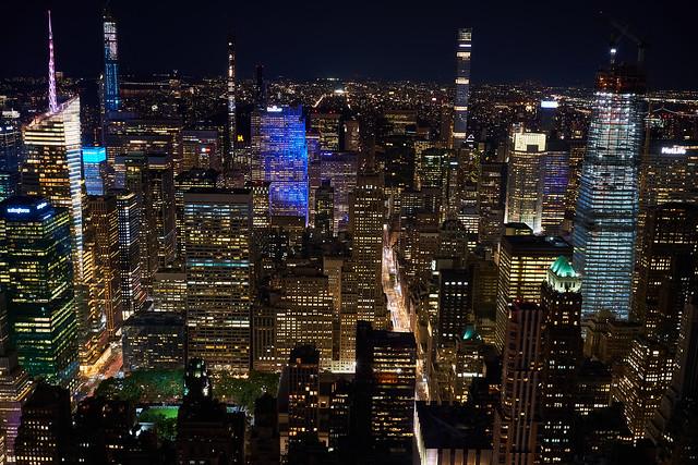NYC, Manhatten Skyline by night