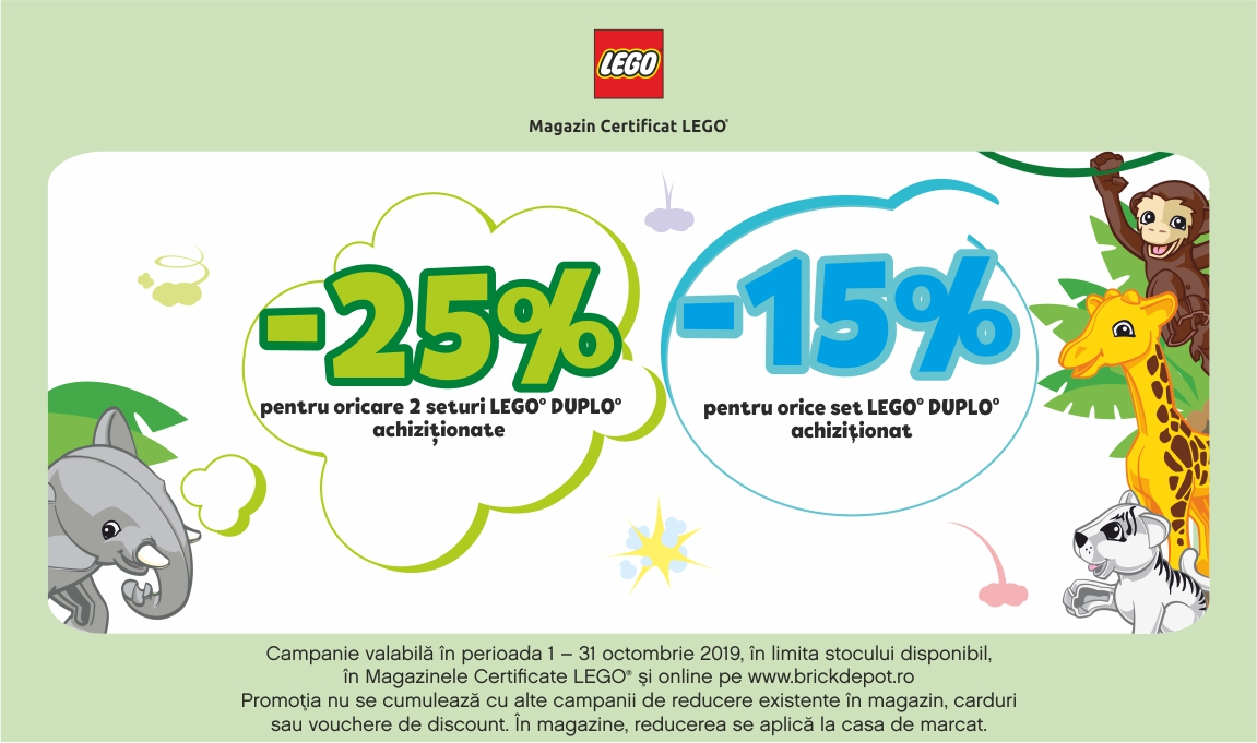 25% reducere la oricare 2 seturi LEGO® DUPLO