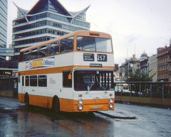 wdw1998 posted a photo:	Rare Foden/Northern Counties LNA258P in a wet Piccadilly Gardens Bus Station. (Scanned 126 slide)