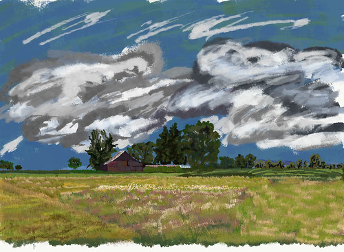 blueskieswithclouds cloudsindistance countryside day3willamettecannonbeach grassymeadow landscape lookingne nature oldbarn oregoncountryside outside trees digitalpainting adobedraw adobeillustratordraw ipad artdigital ipadprodrawing applepencil azimuth46 cochranehistorical oregon unitedstates