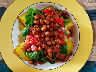 BLT Baked Potato with Chickpea Bacon from VSSTD