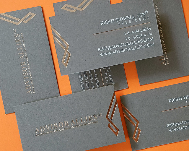 Dark Gray Business Cards 30pt _ Rose(Coin) Gold Foil & White Printing
