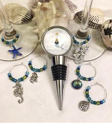 Mermaid bottle stopper and glass charms set https://etsy.me/2MrM9Rt