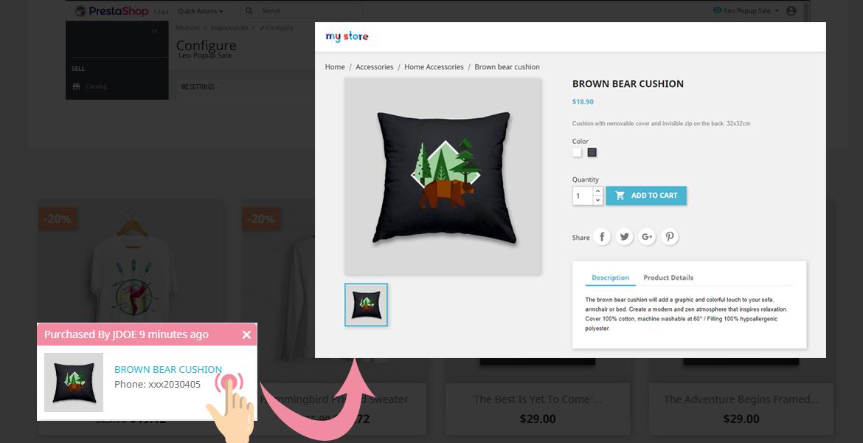popup link to product URL - leo popup sale pro module