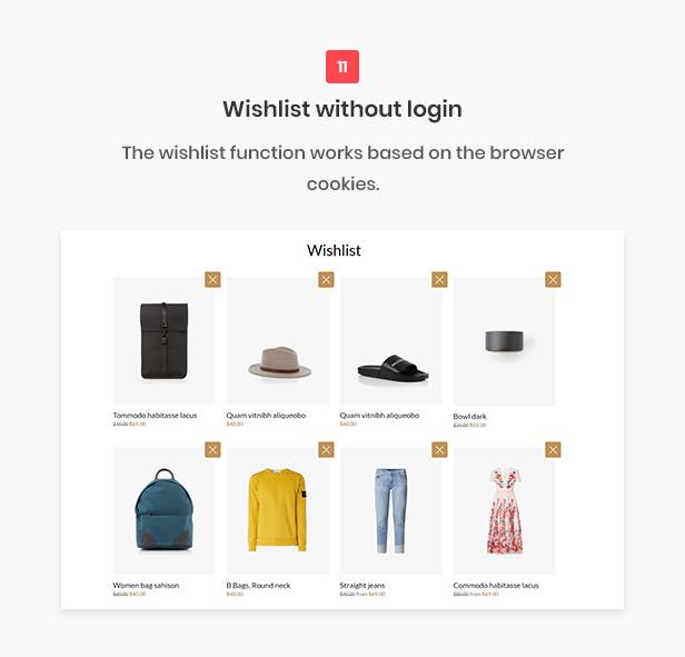 All-in-one shopify theme - Wishlist without login