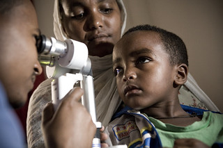 Pediatric cataract examination inside of a clinic at an Orbis International hospital -based training project in Gondar, Ethiopia. | by IAPB/VISION 2020