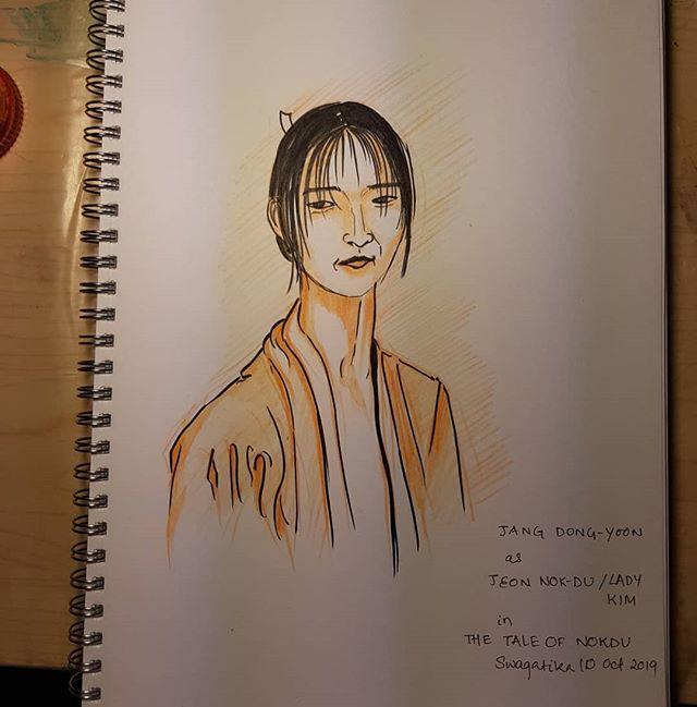#inktober2019 #inktober #inktober2019day8 . #kdrama #koreandrama #jangdongyoon #widowkim #thetaleofnokdu