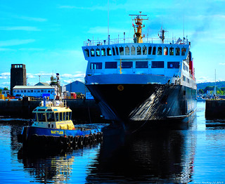 Scotland Greenock leaving the ship repair dock the car ferry Isle of Lewis 7 September 2019 by Anne MacKay
