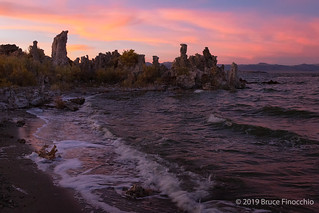 Waves Come A Shore During A Mono Lake Sunset
