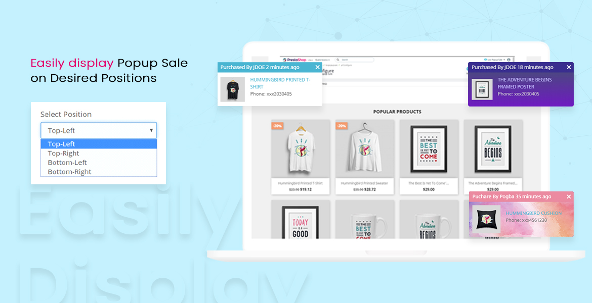 leo popup sale pro prestashop module - set popup notification positions