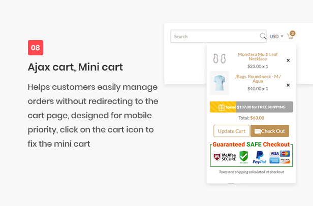 All-in-one shopify theme - ajax cart mini cart