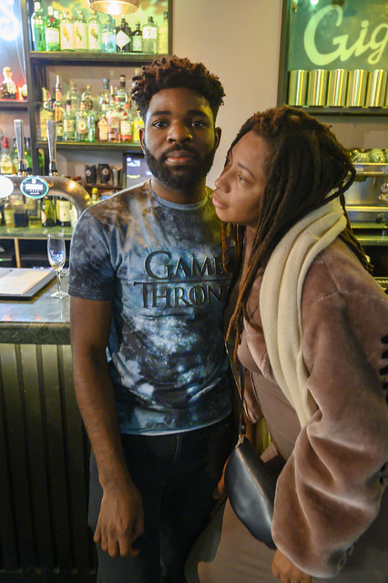DSC_9027 Gigi's Bar Hoxton Square Shoreditch London with Alesha from Jamaica Out on the Town with Irish Louisiana Guy of British Nigerian Decent Barman Rapper