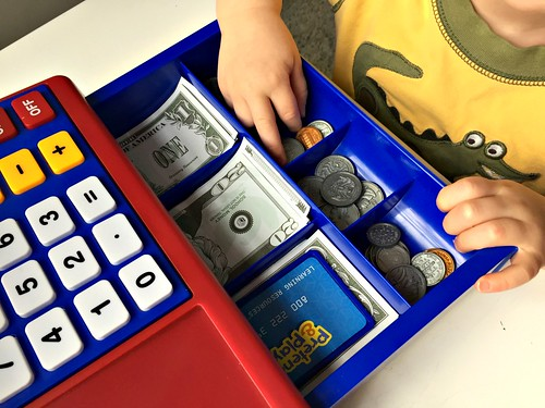 children's cash register with play money
