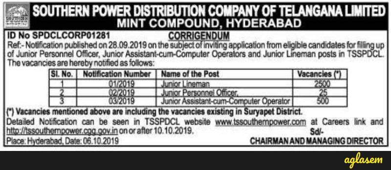 TSSPDCL Notification 2019 at tssouthernpower.cgg.gov.in for revised vacancies, 3025, awaited